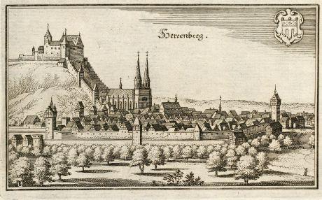 Antike Landkarten, Merian, Deutschland, Baden-Württemberg, Herrenberg, 1643: Herrenberg