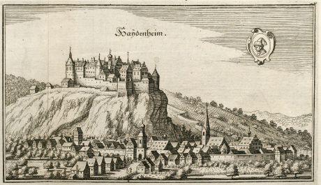 Antique Maps, Merian, Germany, Baden-Wurttemberg, Heidenheim, Brenz, 1643: Haydenheim