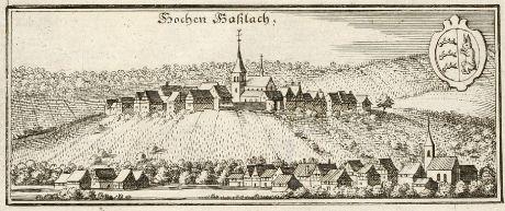 Antike Landkarten, Merian, Deutschland, Baden-Württemberg, Hohenhaslach, 1643: Hochen Haßlach