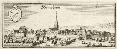 Antique Maps, Merian, Germany, Baden-Wurttemberg, Heimsheim, Leonberg, 1643: Heimsheim