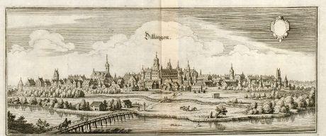 Antique Maps, Merian, Germany, Baden-Wurttemberg, Dillingen, Donau, 1643: Dillingen