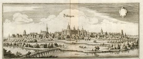 Antique Maps, Merian, Germany, Bavaria, Schwaben, Dillingen, Donau, 1643: Dillingen