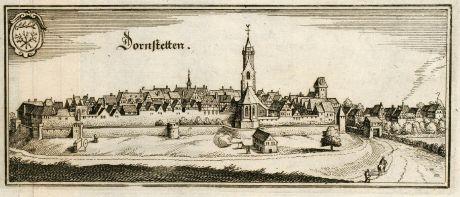 Antike Landkarten, Merian, Deutschland, Baden-Württemberg, Schwarzwald, Dornstetten: Dornstetten