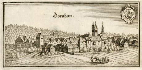Antique Maps, Merian, Germany, Baden-Wurttemberg, Black Forest, Dornhan: Dornhan