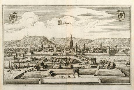 Antike Landkarten, Merian, Deutschland, Baden-Württemberg, Heilbronn am Neckar: Heylbronn
