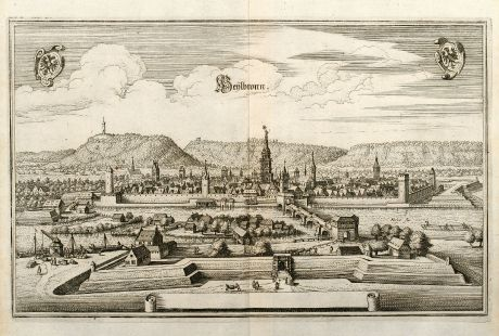 Antique Maps, Merian, Germany, Baden-Wurttemberg, Heilbronn, Neckar, 1643: Heylbronn