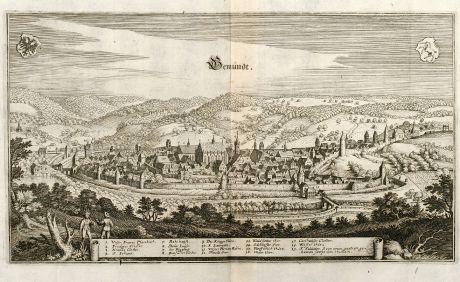Antique Maps, Merian, Germany, Baden-Wurttemberg, Schwäbisch Gmünd, 1643: Gemündt