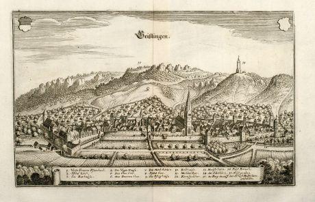 Antike Landkarten, Merian, Deutschland, Baden-Württemberg, Geislingen an der Steige: Geißlingen