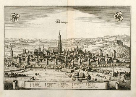 Antike Landkarten, Merian, Deutschland, Baden-Württemberg, Nördlingen, 1643: Nördlingen