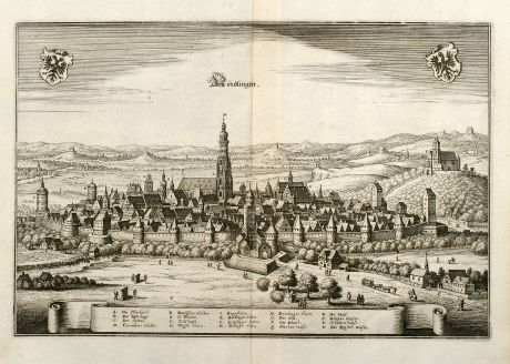 Antique Maps, Merian, Germany, Baden-Wurttemberg, Nördlingen, 1643: Nördlingen