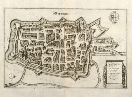 Antike Landkarten, Merian, Deutschland, Bayern, Schwaben, Memmingen, 1643: Memmingen