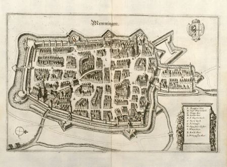 Antique Maps, Merian, Germany, Bavaria, Swabia, Memmingen, 1643: Memmingen