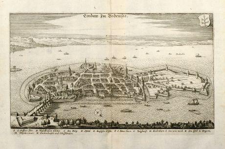 Antike Landkarten, Merian, Deutschland, Bayern, Bodensee, Lindau, 1643: Lindau im Bodensee