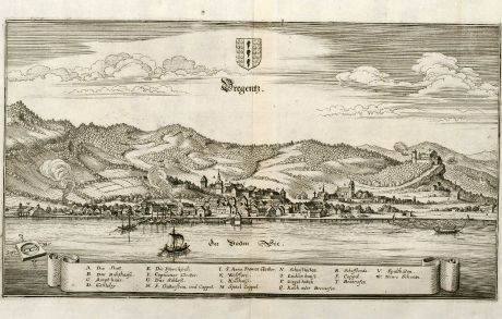 Antique Maps, Merian, Austria - Hungary, Lake Constance, Bregenz, 1643: Bregentz