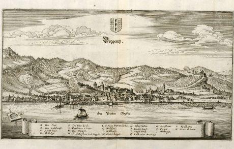 Antike Landkarten, Merian, Österreich - Ungarn, Bodensee, Bregenz, 1643: Bregentz