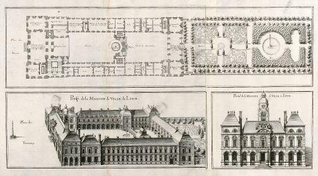 Antique Maps, Merian, France, Lyon, Maison de Ville, Town-hall, 1657: Prosp. de la Maison de Ville de Lyon