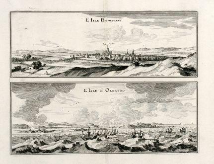 Antique Maps, Merian, France, L Ilse-Bouchard, Ile d Oleron, 1657: l'Isle Bouchart / l'Isle d'Oleron