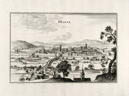 Antique Maps, Merian, France, Mantes-la-Jolie, 1657: Mante