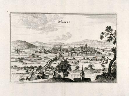 Antike Landkarten, Merian, Frankreich, Mantes-la-Jolie, 1657: Mante
