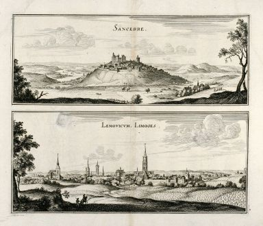 Antike Landkarten, Merian, Frankreich, Sancerre, Limoges, 1657: Sancerre / Lemovicum. Limoges