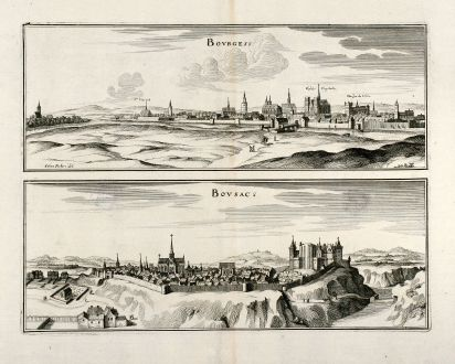 Antique Maps, Merian, France, Bourges, Boussac en Creuse, 1657: Bourges / Bousac