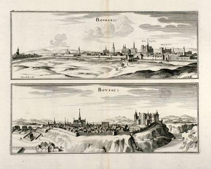 Antike Landkarten, Merian, Frankreich, Bourges, Boussac en Creuse, 1657: Bourges / Bousac