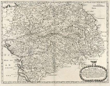 Antique Maps, Merian, France, Tour, Orleans, 1657: Gouvernement General d'Orleans