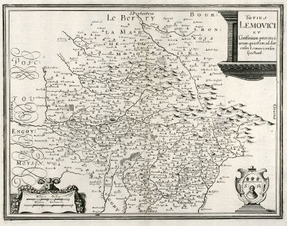 Antique Maps, Merian, France, Limoges, 1657: Totius Lemovici et Confinium provinci
