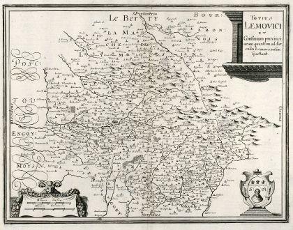 Antike Landkarten, Merian, Frankreich, Limoges, 1657: Totius Lemovici et Confinium provinci