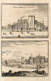 Antike Landkarten, Merian, Frankreich, Lyon, 1657: Chasteau de Moulins en Bourbonois / Maison de Vimy. Pres de Lyon