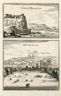 Antique Maps, Merian, France, Lyon, 1657: Chast. de St. Piere en Lion / Belle Cour de Lion