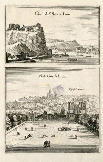 Antike Landkarten, Merian, Frankreich, Lyon, 1657: Chast. de St. Piere en Lion / Belle Cour de Lion