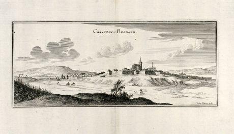 Antique Maps, Merian, France, Chateau-Renard, 1657: Chasteau Regnard