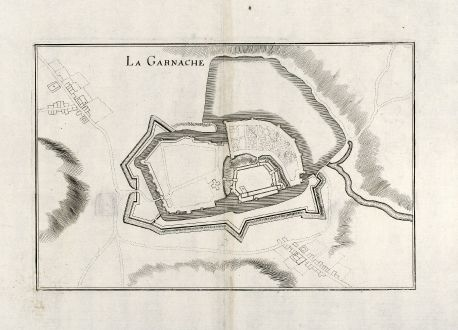 Antique Maps, Merian, France, Chartres, Vendee, 1657: La Garnache