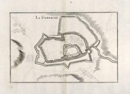 Antike Landkarten, Merian, Frankreich, La Garnache, Vendee, 1657: La Garnache