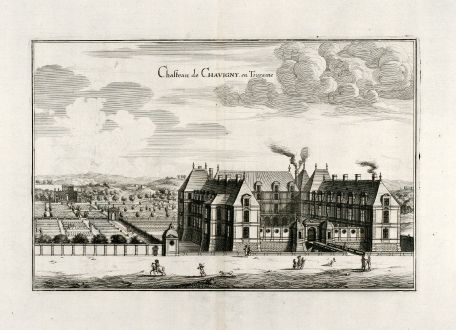 Antike Landkarten, Merian, Frankreich, Chavigny, Touraine, 1657: Chasteau de Chavigny en Touraine