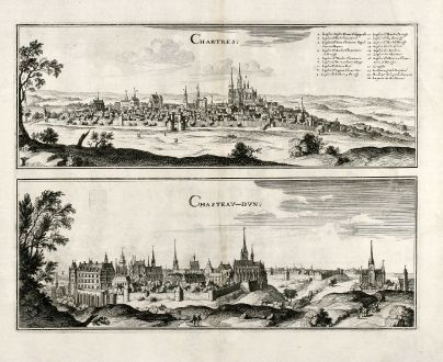 Antique Maps, Merian, France, Chartres, Chateaudun, 1657: Chartres / Chasteau-Dun