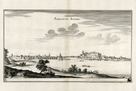 Antique Maps, Merian, France, Angers, 1657: Andegavvm Angers