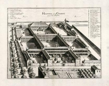 Antique Maps, Merian, France, Lyon, Charite, 1657: Hospital de la Charité de la Ville de Lyon