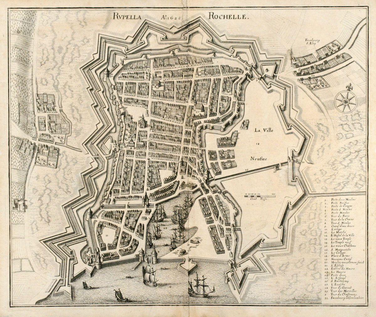 Map Of France La Rochelle.Rupella Rochelle Merian France La Rochelle Poitou Charentes 1657