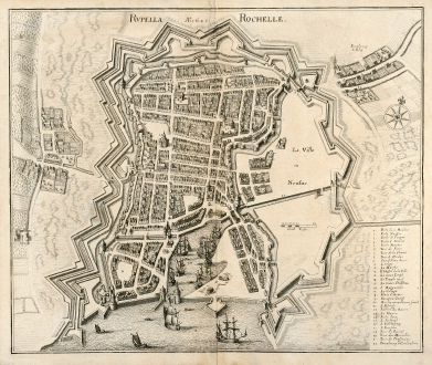 Antique Maps, Merian, France, La Rochelle, Poitou-Charentes, 1657: Rupella Rochelle