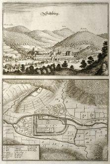 Antike Landkarten, Merian, Deutschland, Baden-Württemberg, Sulzburg, 1643: Sultzburg