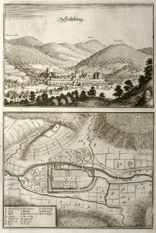 Antique Maps, Merian, Germany, Baden-Wurttemberg, Sulzburg, 1643: Sultzburg