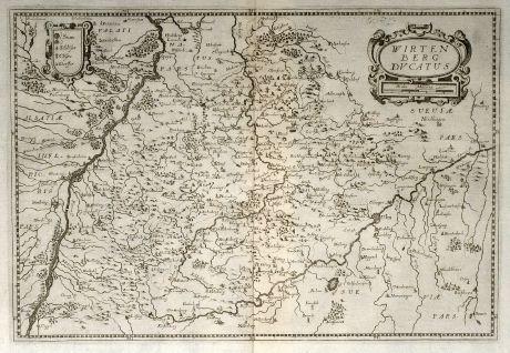 Antike Landkarten, Merian, Deutschland, Baden-Württemberg, 1643: Wirtenberg Ducatus
