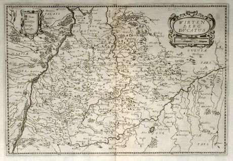 Antique Maps, Merian, Germany, Baden-Wurttemberg, 1643: Wirtenberg Ducatus