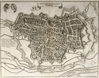 Antike Landkarten, Merian, Deutschland, Bayern, Augsburg, 1643: Augusta Vindelicorum. Augspurg