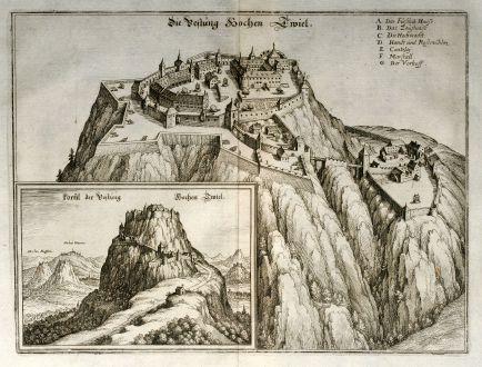 Antike Landkarten, Merian, Deutschland, Baden-Württemberg, Hohentwiel, 1643: Die Vestung Hochen Twiel