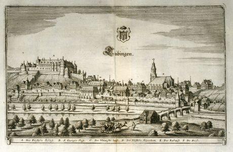 Antike Landkarten, Merian, Deutschland, Baden-Württemberg, Tübingen, 1643: Tübingen