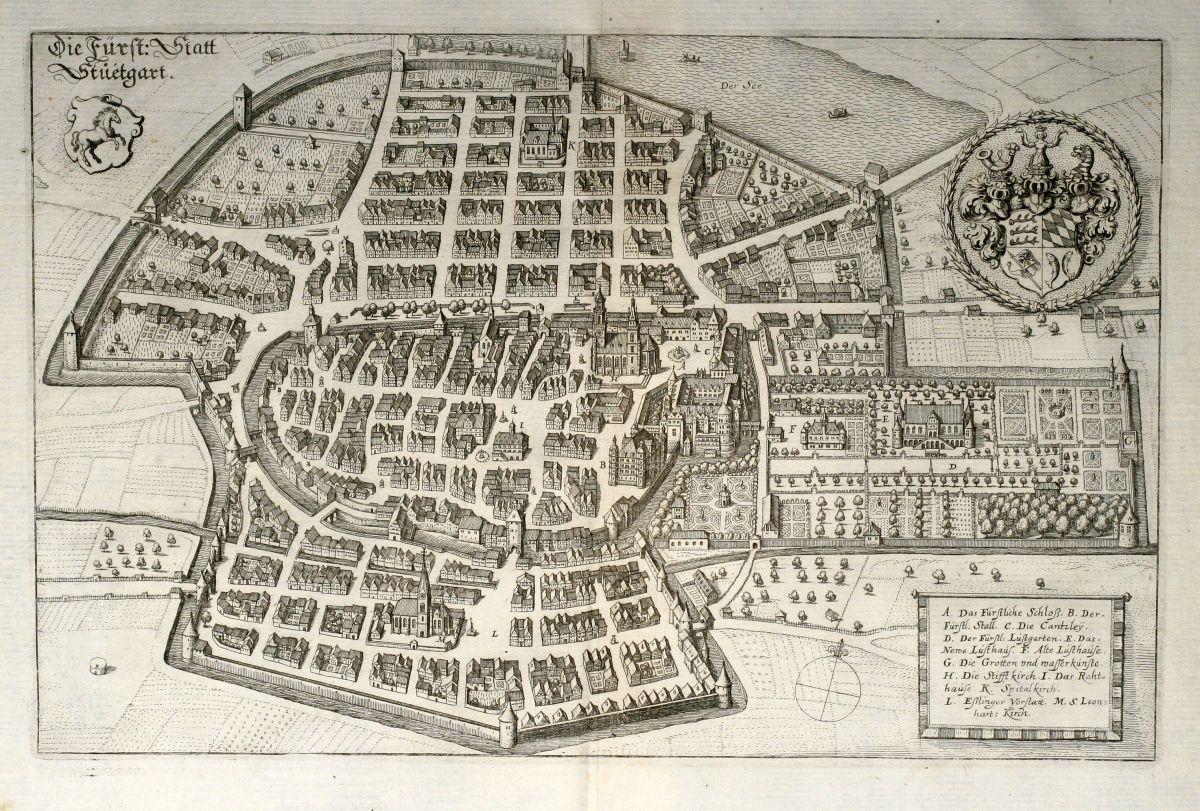 die f rst statt stuetgart merian deutschland baden w rttemberg stuttgart 1643. Black Bedroom Furniture Sets. Home Design Ideas