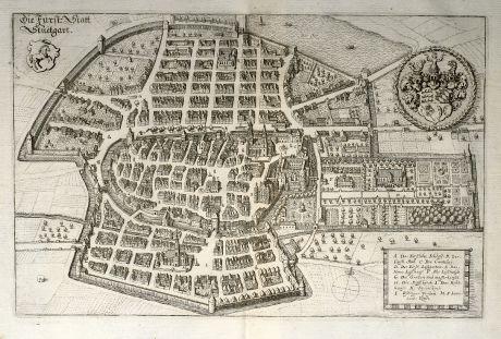 Antike Landkarten, Merian, Deutschland, Baden-Württemberg, Stuttgart, 1643: Die Fürst: Statt Stuetgart